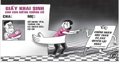 Rắc rối vì chồng lấy tên vợ cũ làm khai sinh cho con riêng