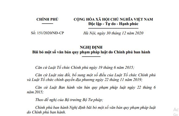 Bãi bỏ 82 văn bản QPPL do Chính phủ ban hành