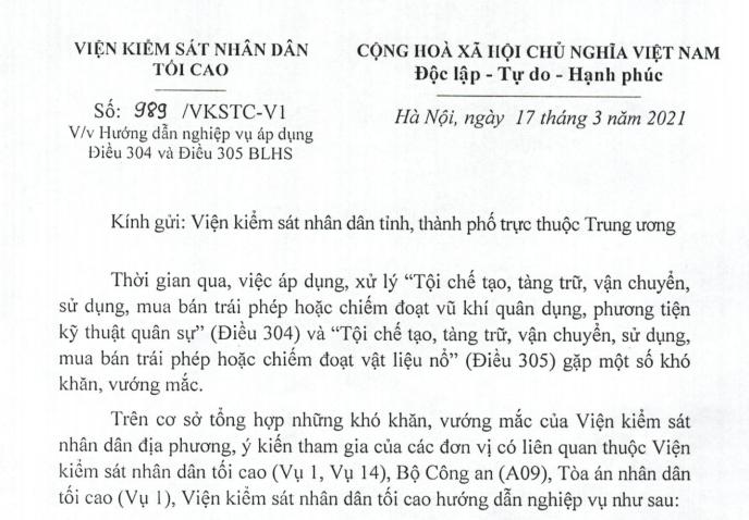 Hướng dẫn áp dụng Điều 304 và Điều 305 BLHS của VKSNDTC