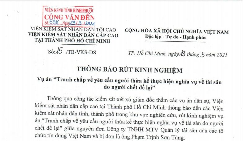"""Thông báo 15/TB-VKS-DS rút kinh nghiệm vụ án """"Tranh chấp về yêu cầu người thừa kế thực hiện nghĩa vụ tài sản người chết để lại"""""""
