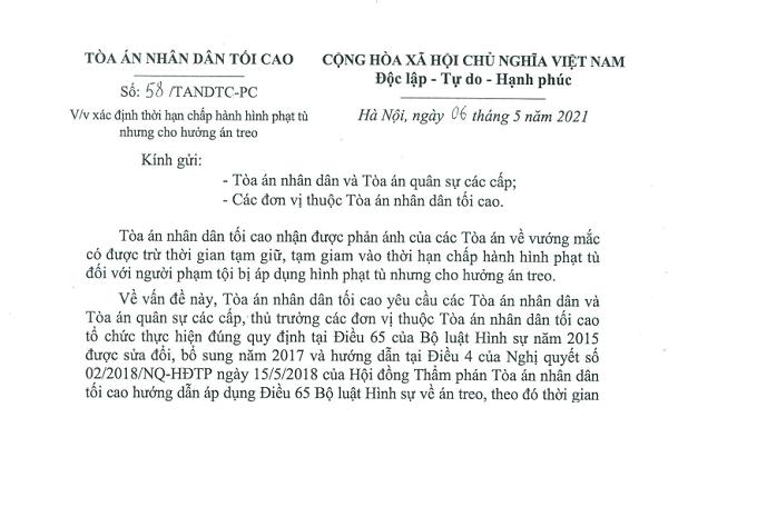 MỚI: TANDTC giải đáp vướng mắc về thời gian tạm giữ, tạm giam đối với người hưởng án treo