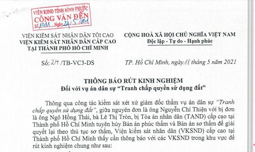 VKSND cấp cao tại TP. HCM rút kinh nghiệm vụ án Tranh chấp quyền sử dụng đất