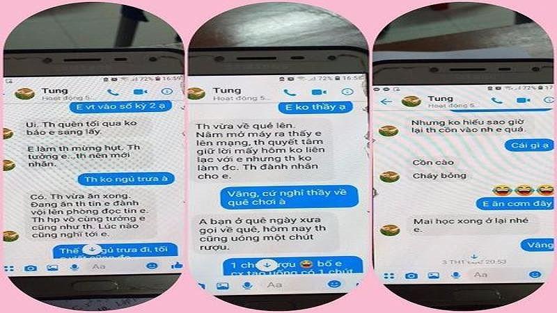 """'Sởn gai ốc' loạt tin nhắn nghi của thầy giáo Thái Bình """"gạ tình"""" nữ sinh"""