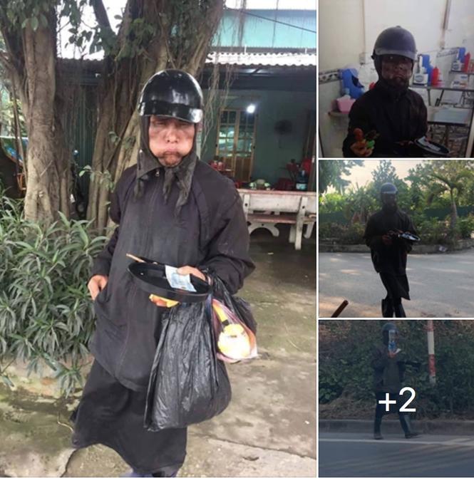 """Công an xác minh vụ nhóm người """"mặt quỷ"""", tay cầm đầu gà xin tiền ở Hà Nội"""